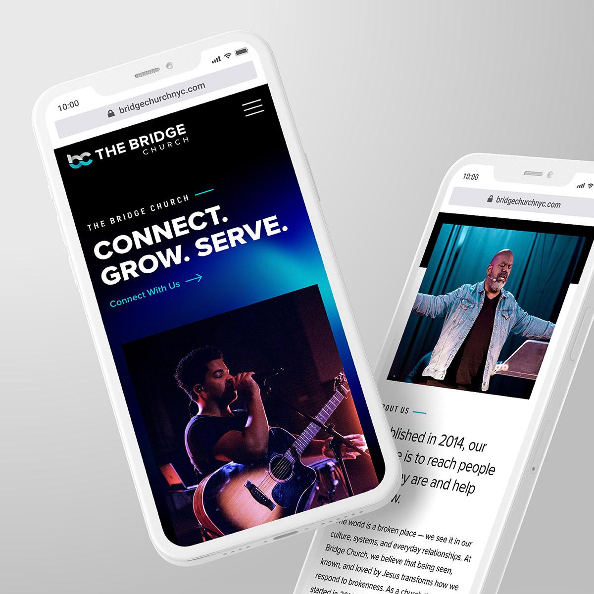 Bridge Church NYC Website Phone Screens