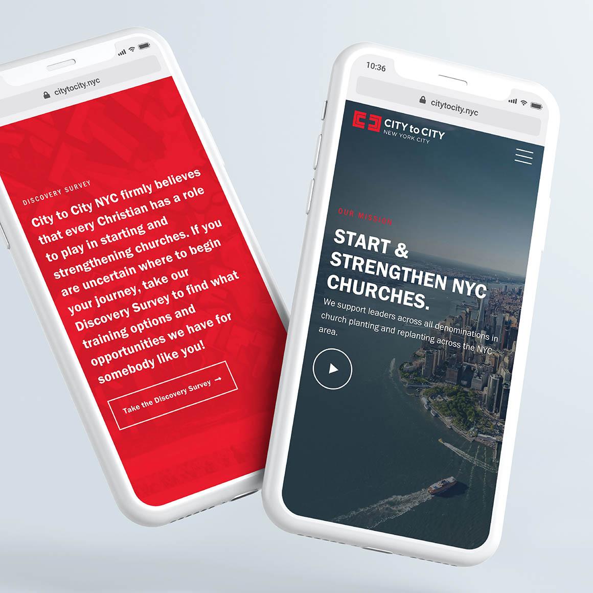City to City NYC Website Phone Screens